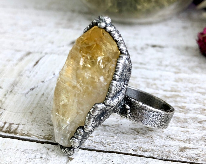 Raw Citrine Ring Size 8.5 Raw Crystal Ring Silver Ring Rough Citrine Ring