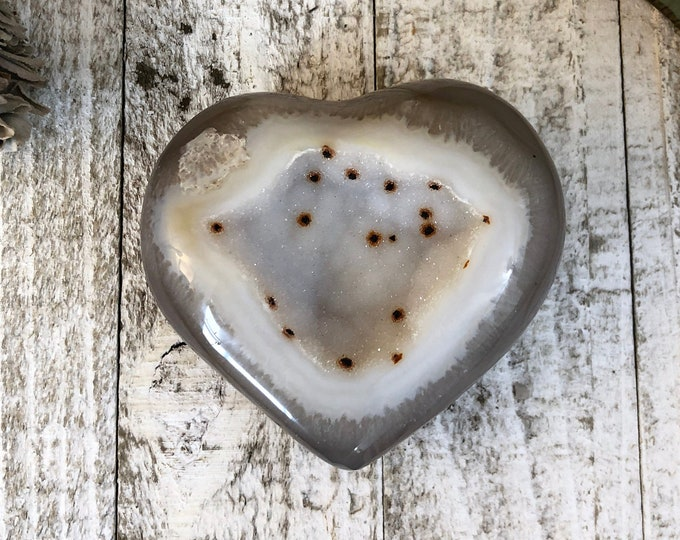 Agate Heart / Agate Druzy Cluster / Heart Shaped Agate Geode