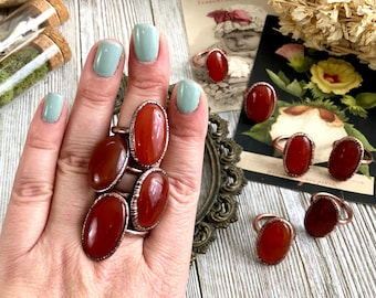 Red Carnelian Ring Red Crystal Ring Size 6 7 8 9 10 11