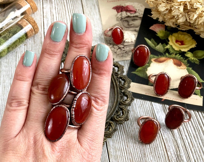 Carnelian Ring Size 6 7 8 9 10 11 / Large Red Stone & Copper Ring