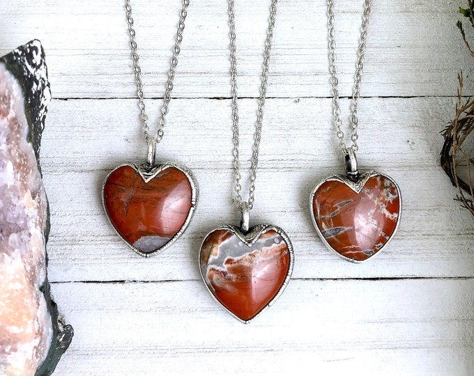 Red Jasper Heart Necklace Pendant in Silver