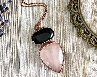 Crystal Necklace Black Onyx & Rose Quartz Pendant