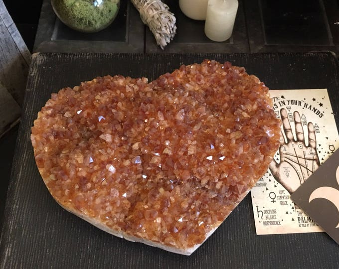 Raw Citrine Heart Shaped Crystal Cluster / Yellow Stone Crystal Valentine's Day Gift