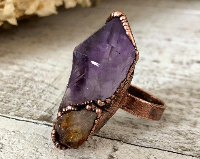 Raw Amethyst Citrine Crystal Ring Size 9.5