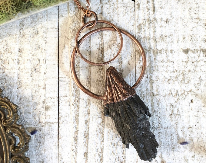 Large Raw Crystal Necklace Black Kyanite Jewelry