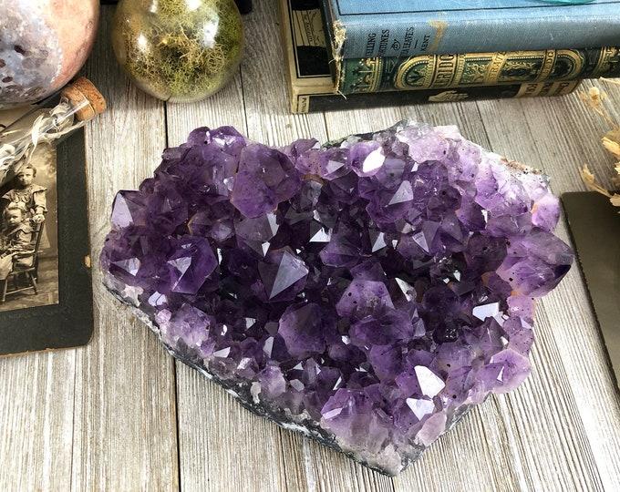 Large Amethyst Cluster Raw Purple Crystal Cluster / Boho Home Decor