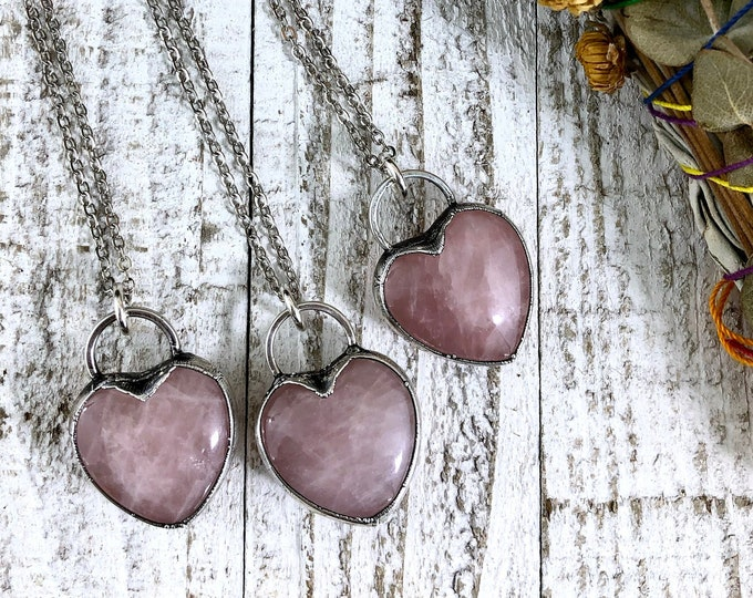 Rose Quartz Crystal Silver Necklace / Pink Crystal Heart Jewelry