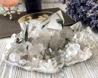 Epidote Quartz Cluster Clear Crystal Cluster / Beautiful Natural Raw Quartz Cluster Epidote In Quartz