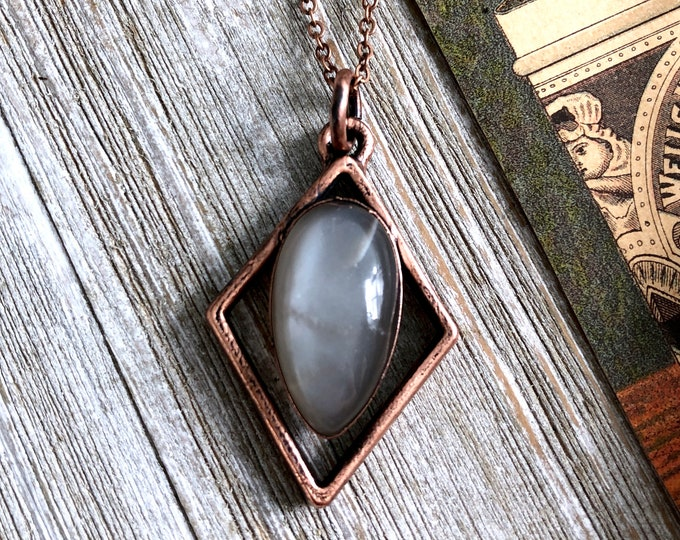 Grey Moonstone Crystal Necklace / Geometric Copper Natural Stone Necklace Pendant