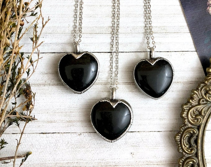 Black Obsidian Crystal Heart Necklace In Silver