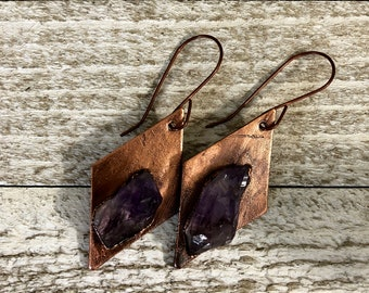 Raw Crystal Earrings / Rough Amethyst & Copper Drop Earrings