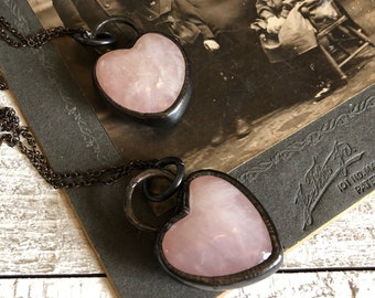 Rose Quartz Crystal Heart Necklace • Pink Heart Jewelry