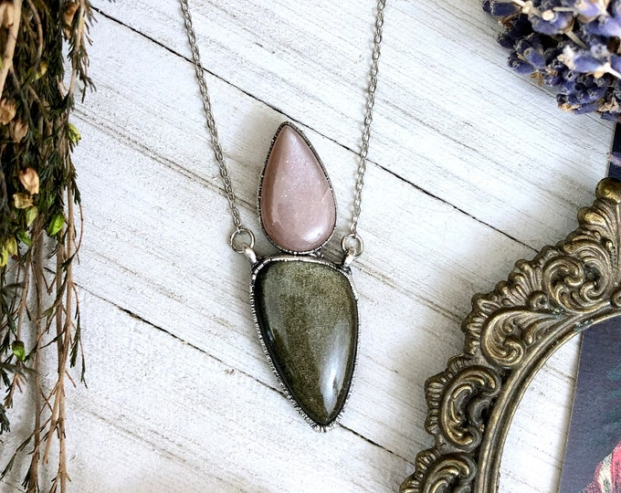 Peach Moonstone & Golden Sheen Obsidian Crystal Necklace in Silver