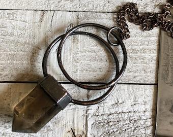 Gothic Necklace Smoky Quartz Crystal Jewelry