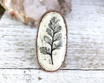 Botanical Ceramic Cabochon Copper Ring Size 7.5 Floral Ring