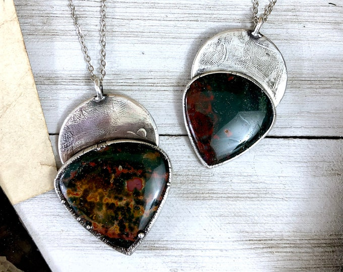 Large Bloodstone Necklace Pendant in Silver