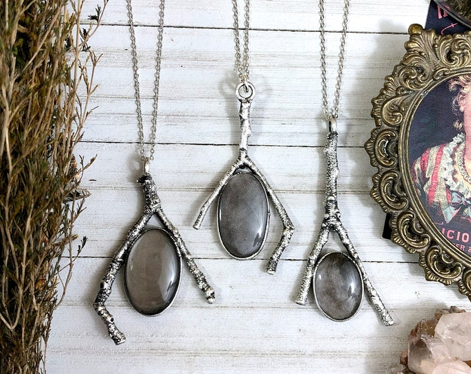 Sticks & Stones Collection - Silver Sheen Obsidian Necklace in Silver