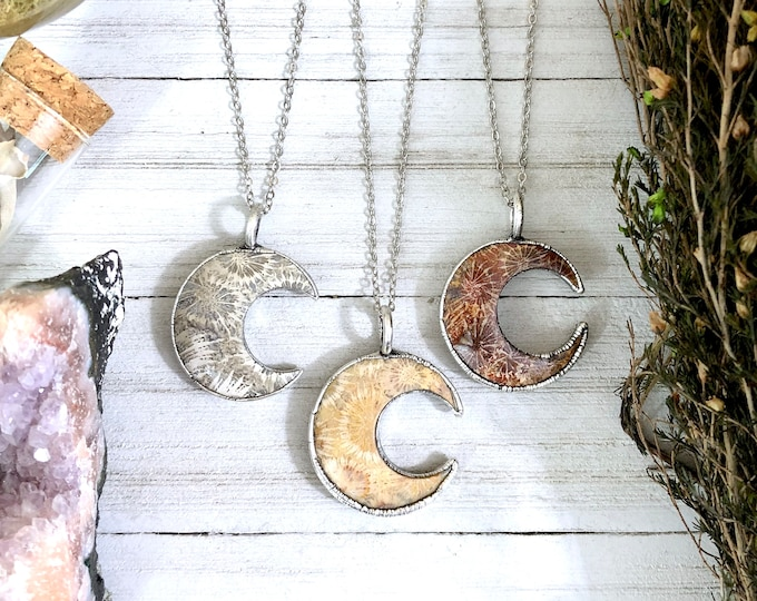 Fossilized Coral Crescent Moon Necklace in Silver