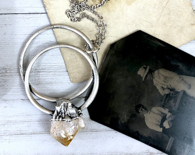 Large Raw Citrine Necklace / Big Crystal Necklace Silver