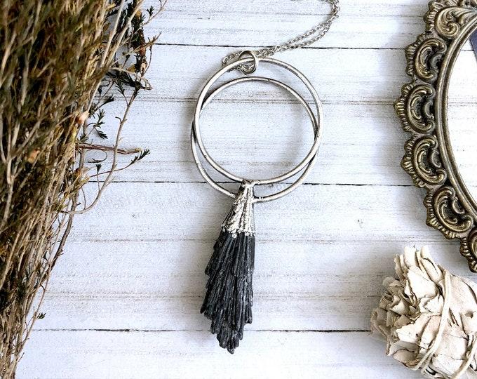 Black Kyanite Necklace in Silver