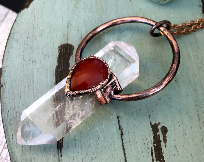 Clear Quartz Carnelian Crystal Necklace Pendant / Crystal Statement Jewelry