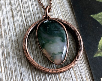 Moss Agate Necklace Natural Crystal Pendant Gypsy Jewelry Dendritic Agate Statement Jewelry