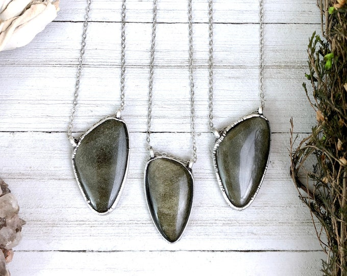 Golden Sheen Obsidian Necklace In Silver