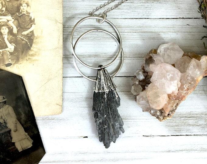 Black Kyanite Necklace Silver Crystal Necklace