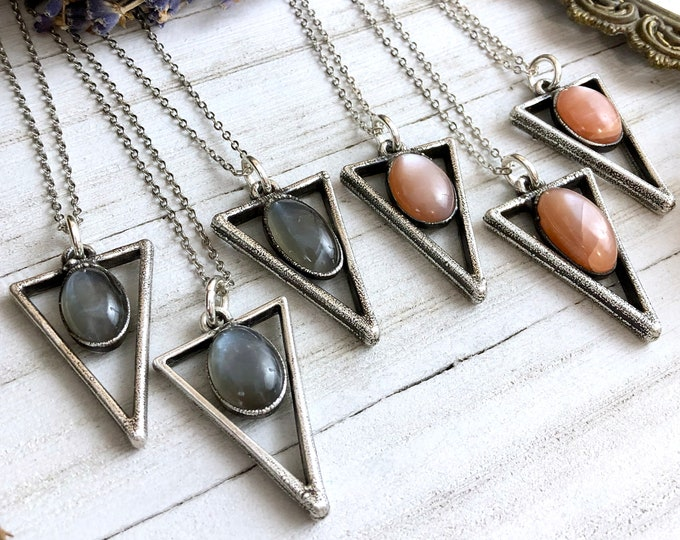 Grey or Peach Moonstone Geometric Necklace in Silver
