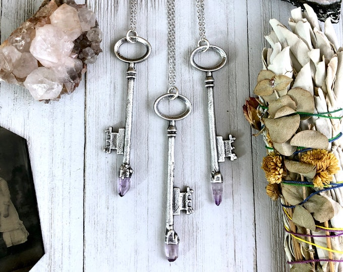Raw Amethyst Crystal Necklace Pendant in Fine Silver Vintage Skeleton Key Necklace