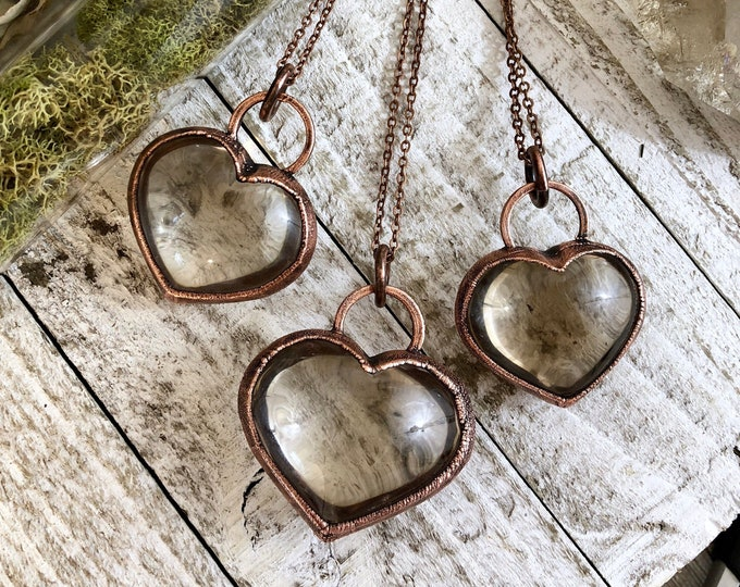 Gift For Her Smoky Quartz Necklace Crystal Heart Necklace • Crystal Jewelry Heart Pendant Gothic Heart Love Jewelry