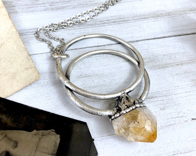 Large Citrine Necklace / Big Crystal Necklace in Silver