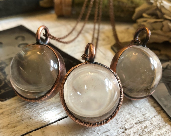 Crystal Ball Necklace Large Clear Quartz Crystal Necklace