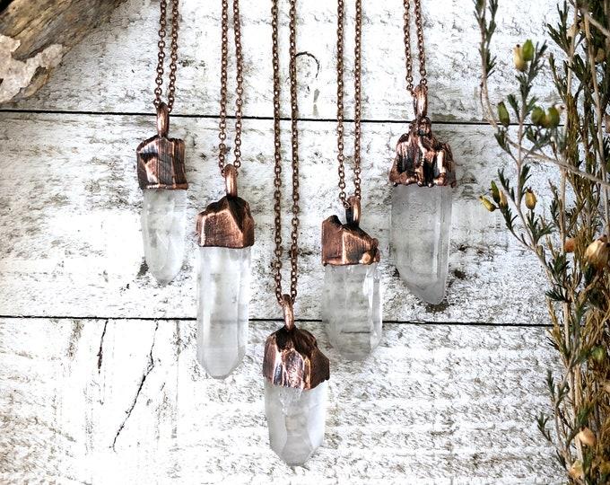 Raw Clear Quartz Crystal Necklace / Rough Crystal Jewelry