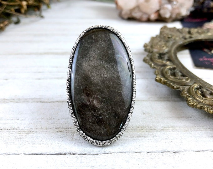 Size 7.5 Silver Sheen Obsidian Ring - Large Crystal Ring Big Silver Ring