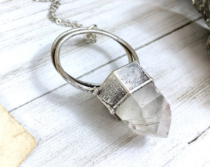 Large Rutilated Quartz Necklace / Big Silver Crystal Pendant