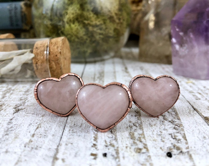Gift For Her Rose Quartz Ring Pink Crystal Ring / Heart Shaped Stone Jewelry / Copper Electroformed Size 6 7 8 9 Gift Idea