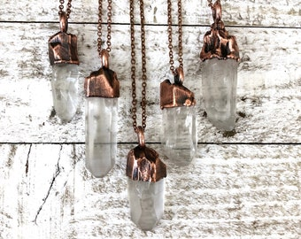 Raw Clear Quartz Crystal Necklace Pendant / Rough Crystal Jewelry
