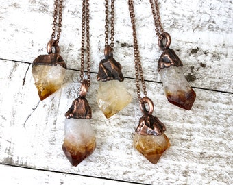 Rough Citrine Raw Crystal Necklace Pendant