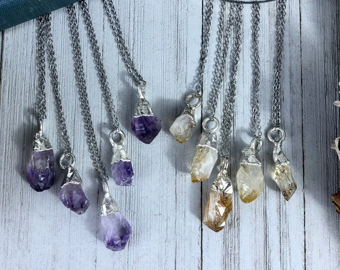 Silver Raw Crystal Necklace / Raw Amethyst or Citrine Necklace