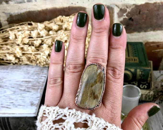 Big Stone Ring Petrified Wood Ring Size 8.5 Natural Stone Jewelry