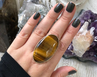 Size 8 Tiger Eye Statement Ring Set in Sterling Silver / Curated by FOXLARK collection / Natural Stone Ring