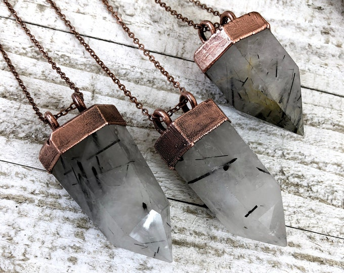 Tourmilated Quartz Crystal Necklace / Black Tourmaline Clear Quartz Necklace / Boho Natural Stone Long Layering Necklace