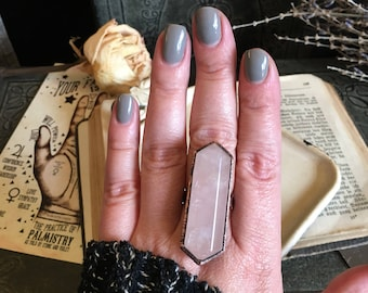 Rose Quartz Ring Size 6 7 8 9 10 Pink Crystal Ring / Gypsy Jewelry Pink Stone Copper Ring