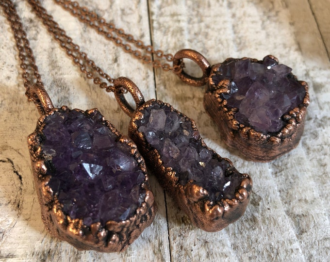 Raw Crystal Cluster Necklace Amethyst Jewelry