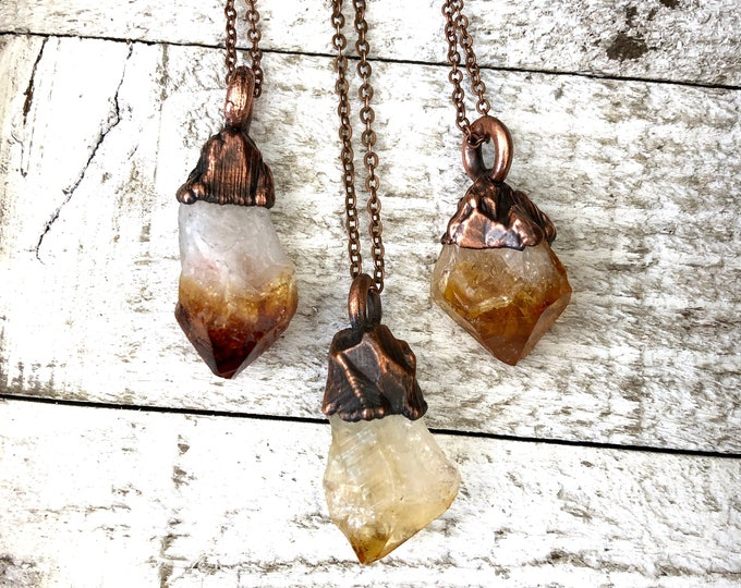 Raw Crystal Necklace Rough Citrine Necklace Small Crystal Pendant