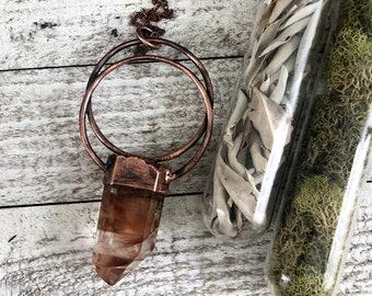 Large Amphibole Quartz Necklace / Big Raw Crystal Statement Necklace