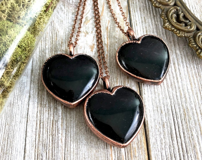 Crystal Necklace Black Obsidian Heart Necklace