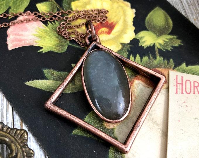 Grey Moonstone Crystal Necklace