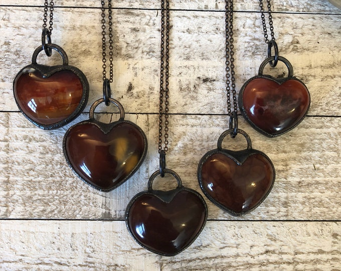 Gothic Heart Necklace / Blackened Red Agate Stone Heart Necklace Pendant